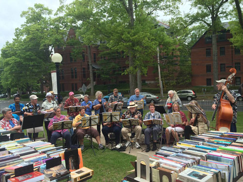 outdoor book sale with AEIOUkes