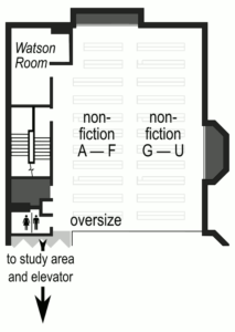 floor plan of the mezzanine of Forbes Library