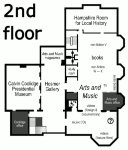 floor plan of the second floor of Forbes Library