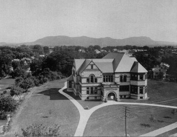 Photograph of Forbes Library from the College Tower