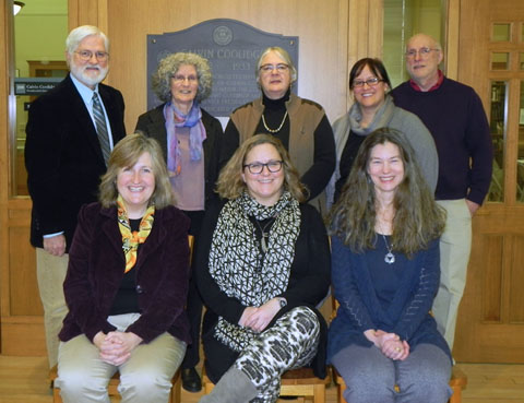 Photo of Trustees: Joseph Twarog, Marjorie Hess, Elaine Reall, Katy Wight, Russell Carrier. Lisa Downing, Director; Cheri Buckhout, Treasurer; Molly Moss, Assistant Director.