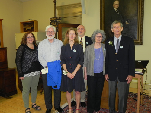 Bonnie Burnham and Peter Rowe receive the 2016 Trustees Aware. Left to right: Katy Wight, Joseph Twarog, Bonnie Burnham, Russell Carrier, Marjorie Hess, Peter Rowe.