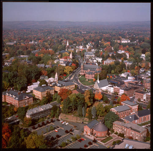 Northampton from above looking north, photograph by Robert Morrison 1990