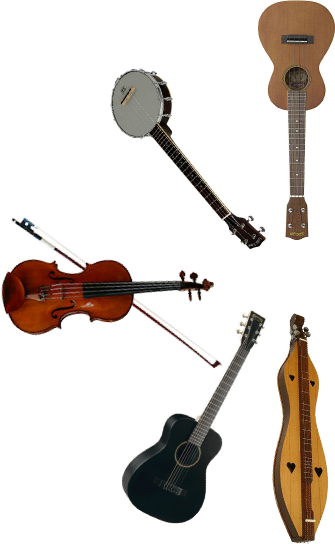 an array of musical instruments available from Forbes Library