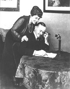Coolidge talking on the telephone