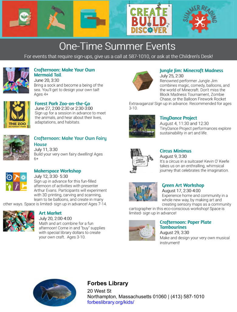 summer reading one-time events flyer
